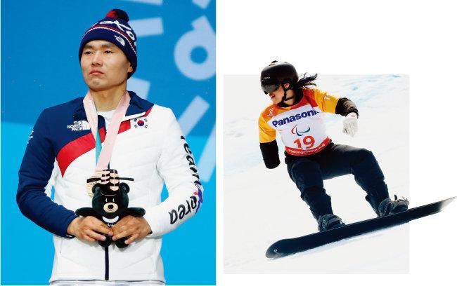 3월 11일 크로스컨트리 장거리 15km 남자 좌식 부문에서 3위를 한 신의현 선수가 동메달을 목에 걸고 태극기를 바라보고 있다.(왼쪽) 3월 12일 강원 정선 알파인경기장에서 열린 스노보드 크로스 남자 상지장애 부문에 출전한 박항승 선수가 질주하고 있다. [뉴시스]