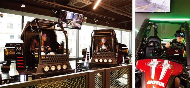 로봇이 된 것 같은 체험을 할 수 있는 '로봇 아담' 어트랙션(왼쪽)과 레이싱을 즐길 수 있는 '카 레이서' 게임. [홍중식 기자]