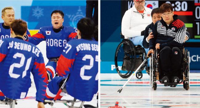 3월 17일 강릉하키센터에서 열린 이탈리아와 동메달 결정전에서 결승골을 넣은 장동신(뒷줄 오른쪽) 등 한국 장애인아이스하키 대표팀 선수들이 경기 후 애국가를 부르며 눈물을 흘리고 있다.(왼쪽) 평창동계패럴림픽 휠체어컬링 대한민국과 노르웨이의 4강전에서 서순석이 투구하고 있다.