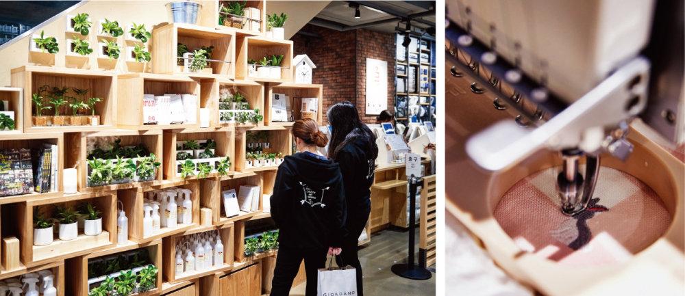 1652㎡에 달하는 '무인양품' 신촌점 매장을 둘러보고 있는 사람들.(왼쪽) '무인양품' 신촌점에서만 만날 수 있는 자수 서비스. [홍중식 기자]