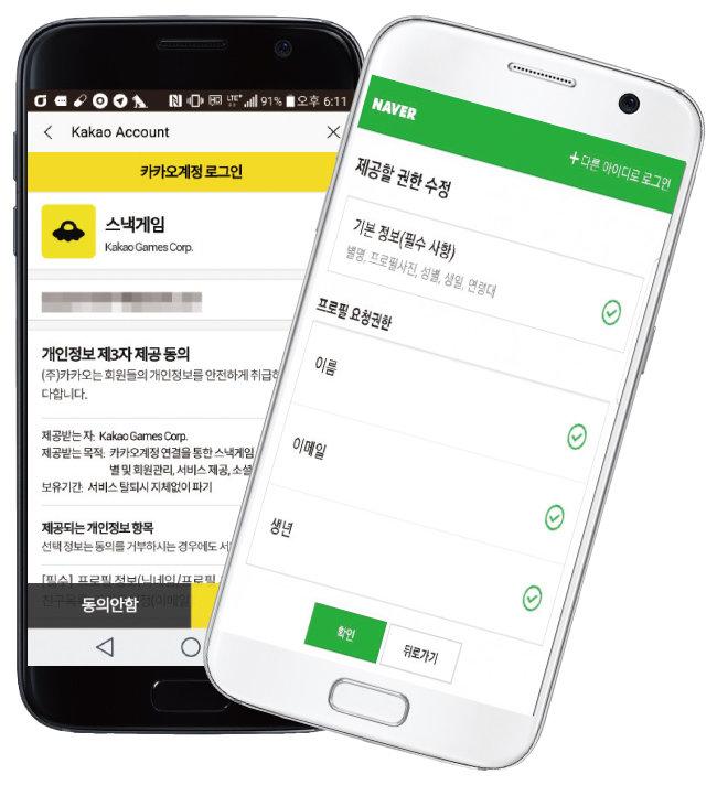 카카오의 소셜 로그인 서비스 모습(왼쪽). 네이버는 소셜 로그인으로 개인정보를 공유할 때 소비자 동의 탭을 거쳐야 한다.