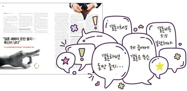'주간동아' 1132호에 게재된 '결혼해봐야 돈만 들지' 기사.