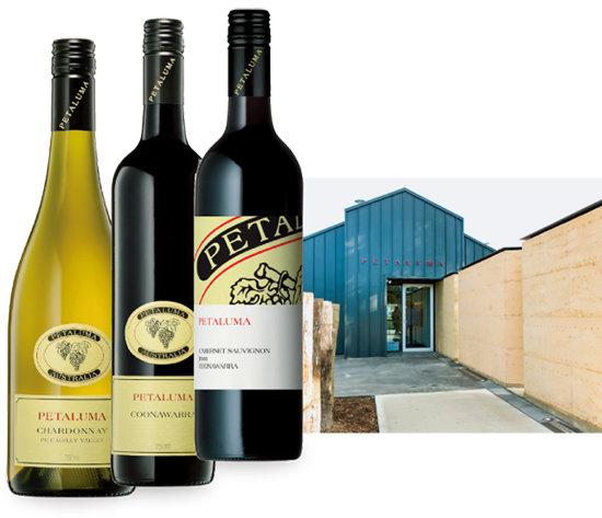 피커딜리 밸리 샤르도네. 쿠나와라 레드 와인, 화이트 라벨 쿠나와라 카베르네 소비뇽과 방문객들이 와인을 맛볼 수 있는 페탈루마 와이너리의 셀라 도어(왼쪽부터). [사진 제공 · 아콜레이드 와인즈 코리아]