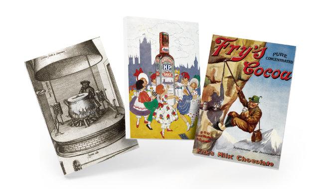 유럽 중세시대 주방 모습과 H.P. 소스를 광고하는 1920년대 소책자, 1910년 무렵 미국 잡지에 실린 코코아 광고(왼쪽부터).
