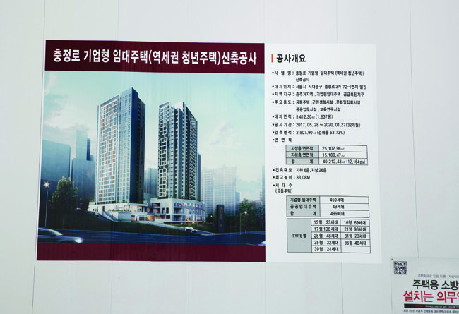충정로3가 역세권 2030 청년주택 공사 현장 가림막에 붙은 알림판. [사진=홍중식 기자]