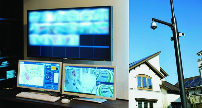 후지사와시 스마트 타운 사무실은 에너지 소비량과 보안 등을 24시간 관리한다(왼쪽). 후지사와시 스마트 타운에 설치된 폐쇄회로(CCTV)는 주민들의 동선을 따라 자동으로 촬영한다.