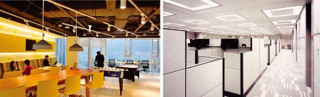 한국 마이크로소프트(MS) 직원들은 자율근무제로 편할 때 출근해 아무 데나 앉아서 일하면 된다.(왼쪽) 자율근무제 도입 전 바두판식 배열의 사무실 내부 모습. 현재는 유연한 동선의 공간으로 탈바꿈했다. [동아DB]