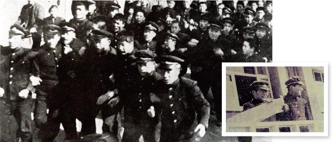 1960년 2월 28일 경북도청으로 달려가는 경북고 학생들(왼쪽)과 선언문을 읽는 이대우 경북고 학생부위원장. [동아DB]