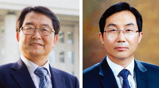 이대우 교수의 제자인 자유한국당 백승주 의원(왼쪽)과 김홍수 대통령비서실 교육문화비서관. [동아DB]