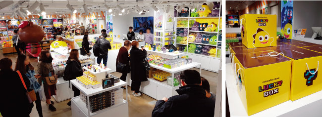 4월 6일 홍대 엘큐브에 문을 연 '넷마블 스토어'(왼쪽). '넷마블 스토어' 오픈 기념으로 한정 판매한 럭키박스.