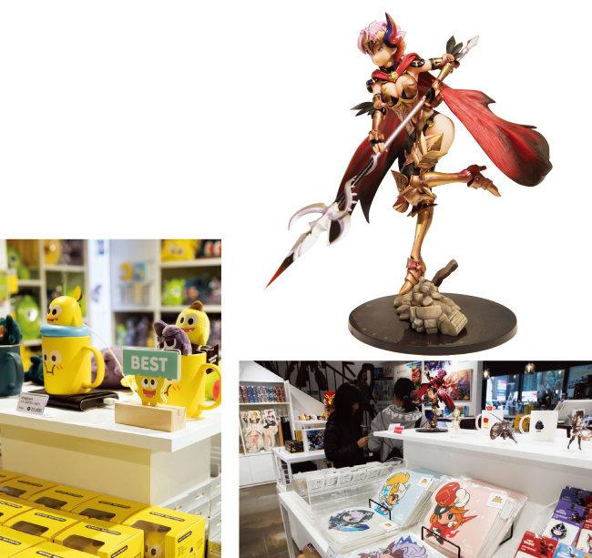 '넷마블 프렌즈'의 'ㅋㅋ'로 만든 다양한 상품들(왼쪽). '세븐나이츠' 상품들과 '아일린' 피겨(위).