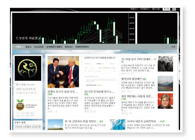 '드루킹' 김동원 씨의 네이버 블로그 첫 화면. [블로그 캡처]