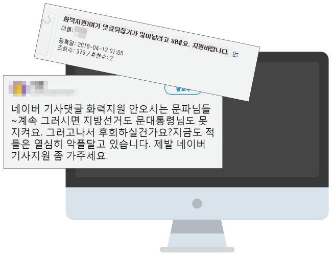 한 커뮤니티 사이트와 소셜네트워크사이트(SNS)에 올라온 '화력 지원' 요청글.