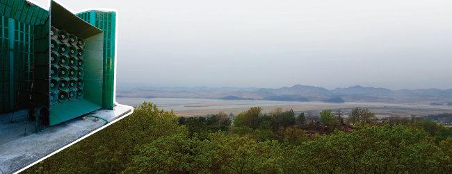 대북 확성기.(왼쪽) 경기 파주시 탄현면 보현산 정상에서 바라본 북한. 수풀이 울창한 남한과 달리 임진강 너머 북한의 산들은 나무와 풀이 없는 민둥산이라 대조를 이룬다. [뉴스1, 동아DB]