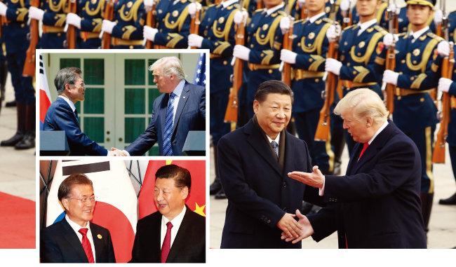문재인-트럼프의 한미정상회담, 트럼프-시진핑의 미·중 정상회담, 문재인-시진핑의 한중정상회담에서는 항상 한반도의 비핵화에 대한 논의가 있었다. [뉴시스]