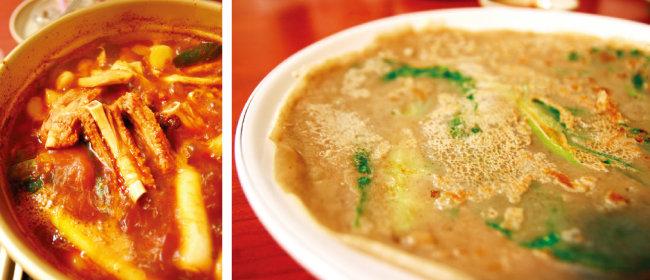 끓일수록 맛있는 매운 등갈비찜, 얇지만 쫄깃한 메밀배추부침(왼쪽부터).