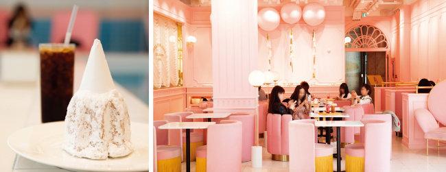 슈거파우더가 산처럼 쌓인 '팡도르'는 단것을 좋아하는 사람이라면 만족할 만한 맛이다(왼쪽). 핑크풀카페 2호점을 찾은 사람들.