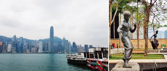 셩완에서 침사추이로 가려면 7번 선착장에서 페리를 타야 한다(왼쪽). 스타의 정원에서 만난 리샤오룽 동상.
