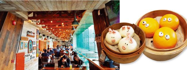 '부바검프'는 언제나 사람으로 붐비기에 가기 전 미리 홈페이지에서 예약하는 것이 좋다. '얌차'에서 가장 인기 있는 돼지 모양 딤섬과 커스터드 딤섬(왼쪽부터).