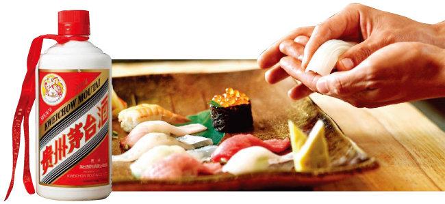 중국 대표 발효술 '마오타이주'(왼쪽)와 일본 대표 음식 '스시'. [동아DB]