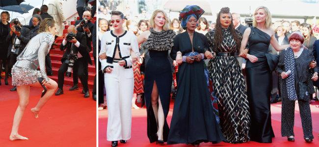 레드카펫에서 하이힐을 벗고 입장한 크리스틴 스튜어트(왼쪽). 영화계 성평등을 요구하며 팔짱을 끼고 행진한 여성영화인들. [AP=뉴시스]
