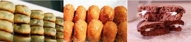 경북 경주 황남빵, 경남 통영 오미사꿀빵, 전북 전주 초코파이(왼쪽부터).