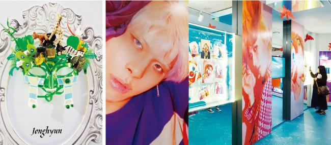 샤이니의 '줄리엣' 뮤직비디오에서 종현이 착용한 가면(왼쪽). 샤이니 활동 당시 의상과 소품을 살펴볼 수 있는 공간. [구희언 기자]