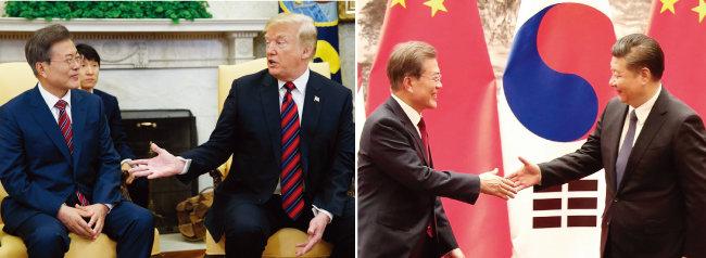 5월 22일 미국을 방문한 문재인 대통령이 미국 워싱턴 백악관에서 도널드 트럼프 대통령과 회담하고 있다. 문재인 대통령이 지난해 12월 중국 베이징 인민대회당에서 열린 공식 환영식에서 시진핑  국가주석과 악수를 나누며 환하게 웃고 있다(왼쪽부터). [AP=뉴시스]