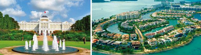 싱가포르 이스타나궁(왼쪽)과 센토사 섬. [사진 제공·싱가포르 정부, 동아DB]