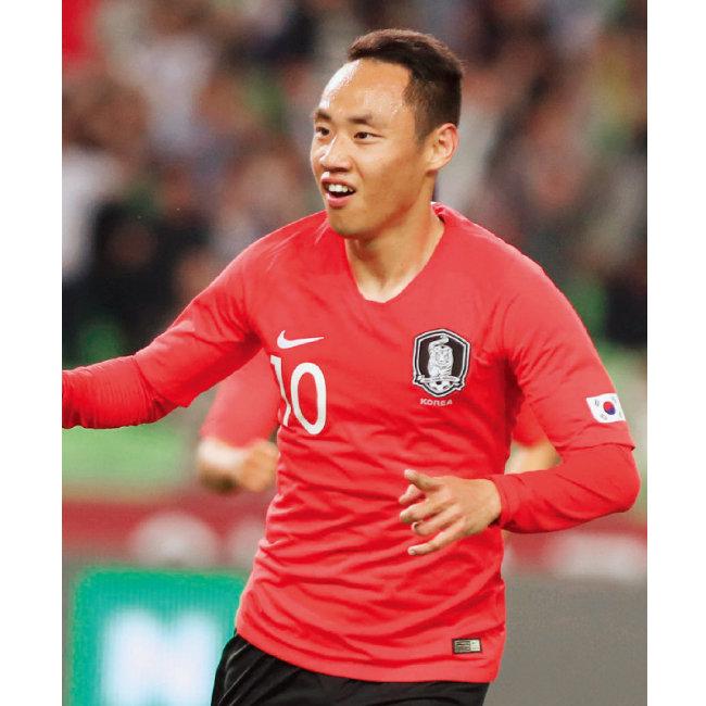 축구 국가대표 데뷔전에서 골을 기록한 문선민(인천유나이티드FC). [동아DB]