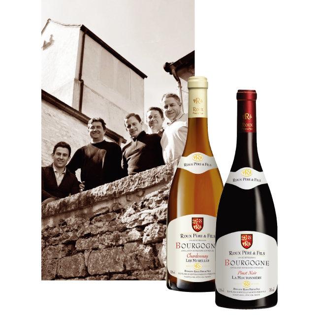 현재 도멘 루를 이끌고 있는 4대손과 5대손. 도멘 루의 부르고뉴 샤르도네, 피노 누아르 와인(왼쪽부터). [사진 제공 · 에노테카코리아㈜]