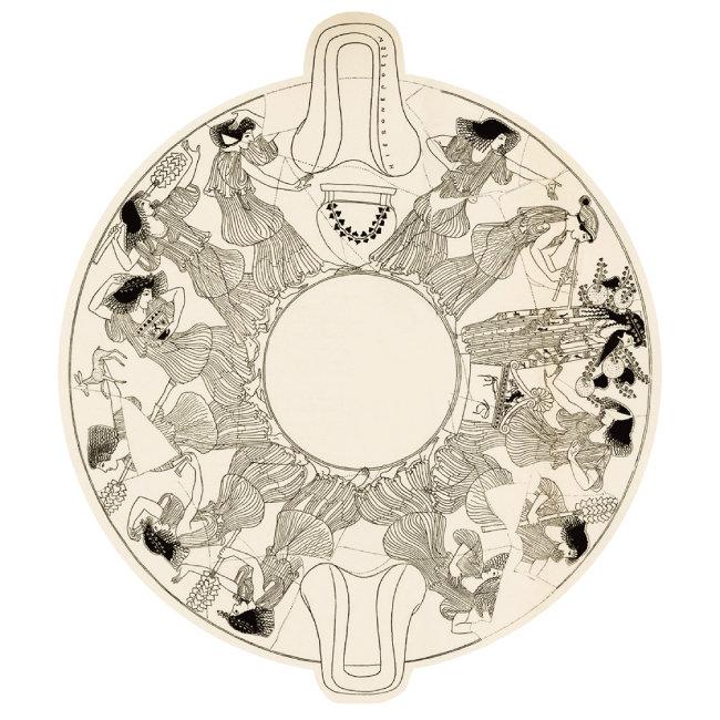 디오니소스 목조상을 둘러싼 채 악기를 연주하고 춤추는 여인들. 고대 그리스 도기에 그려진 그림을 복원한 것이다. [사진 제공 · 푸른역사]