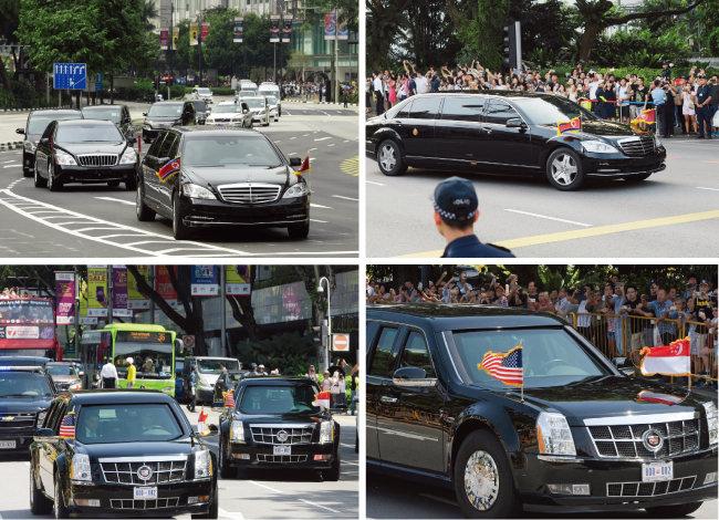 김정은 북한 국무위원장을 태운 벤츠 리무진이 회담장으로 향하고 있다.(위) 트럼프 미국 대통령의 전용차 '캐딜락 원(일명 비스트)'. [뉴시스]