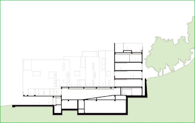 아이뜰유치원을 정면에서 바라본 건축도면. 4개의 건축이 어우러져 있음을 확인할 수 있다. [도면 제공=이손건축]