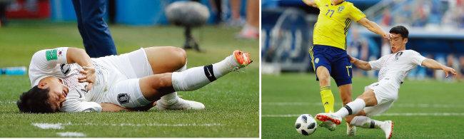 박주호가 스웨덴전에서 동료의 긴 패스를 무리하게 받다 부상을 당한 뒤 오른쪽 햄스트링 통증을 호소하고 있다(왼쪽). 스웨덴의 빅토르 클라에손의 돌파를 막고 있는 김민우(오른쪽). 이 태클로 패널티킥이 선언되며 결승골을 내주고 말았다. [동아DB]