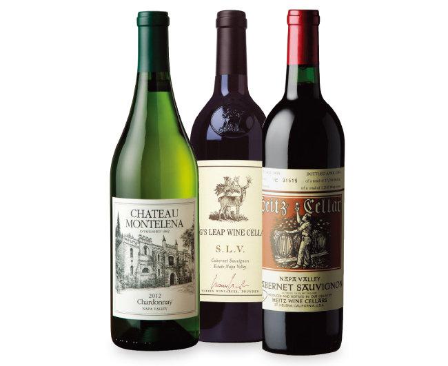 샤토 몬텔레나의 나파 밸리 샤르도네, 스택스 립 와인 셀라의 S. L. V. 카베르네 소비뇽, 하이츠 와인 셀라의 마르따스 빈야드 카베르네 소비뇽(왼쪽부터). [사진 제공 · 나라셀라㈜]