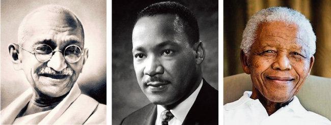 20세기 3대 비분노 지도자인 마하트마 간디, 마틴 루서 킹 목사, 넬슨 만델라(왼쪽부터). [동아DB]
