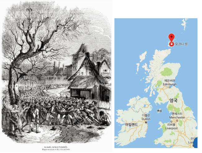 프랑스 노르망디 지역에서 벌어진 '라 술' 시합 장면을 담은 그림(1852).(왼쪽) '커크월 바'가 열리는 오크니 섬의 위치. [사진 제공·황소자리]