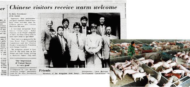시진핑 중국 국가주석이 정딩현 당서기 시절 미국 아이오와주를 방문한 내용을 다룬 '머스카틴 저널' 기사(왼쪽). 중국 한 농민이 돼지에게 줄 사료를 운반하고 있다. [차이나 데일리]