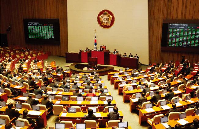 5월 28일 오후 국회 본회의에서 물관리 일원화 관련법 등이 포함된 정부조직법 개정안이 처리됐다. [동아DB]