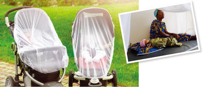 말라리아를 예방하기 위해 모기장 안에서 쉬는 산모와 아기(오른쪽). 유모차에도 모기장을 씌워 아기들을 보호하고 있다. [shutterstock, 동아DB]