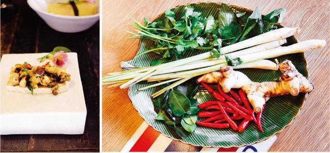 두부와 버섯으로 만든 따뜻한 한식 샐러드.(왼쪽) 더운 날 입맛 돋우기에 좋은 동남아시아 향신료들. [사진 제공·김민경]