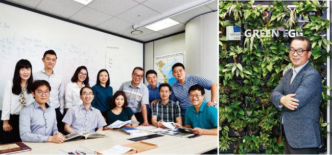 한국과 베트남 상생경제협력의 모범을 일궈가는 그린에그 직원들(왼쪽)과 정인섭 그린에그 대표.