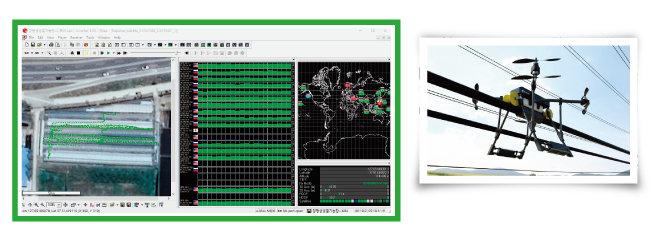 경기 양평의 딸기재배 비닐하우스에서 '꿀벌 드론'의 RTK-GPS 시험 장면. 프로그램을 입력하면 밭고랑을 따라 인공수분 및 농약방재를 한다(위). 전선 위에서 시험 중인 '고압송전선 점검용 드론'. [사진 제공·세이프어스드론]