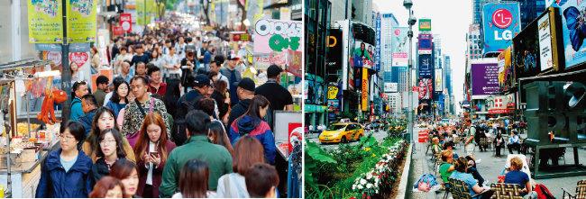 5월 서울 중구 명동 거리의 모습(왼쪽).  미국 뉴욕 맨해튼 번화가는 한국에 비해 임대료가 몹시 비싼 편이다. [동아DB, 뉴시스]