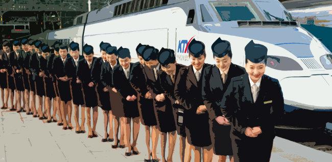2004년 갓 입사한 KTX 승무원들의 모습. [동아DB]