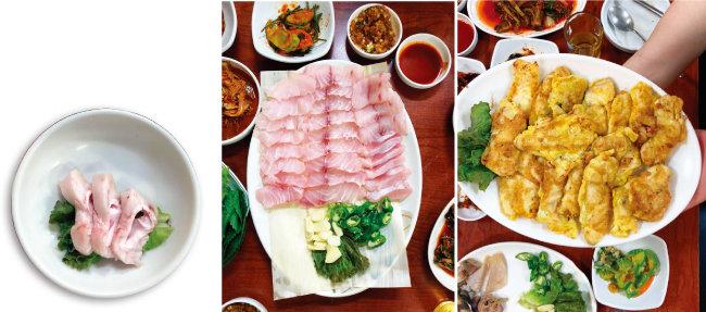 민어 맛의 하이라이트인 부레, 숙성이 잘돼 핑크빛이 도는 민어회, 다디단 맛이 나는 민어전. (왼쪽부터)