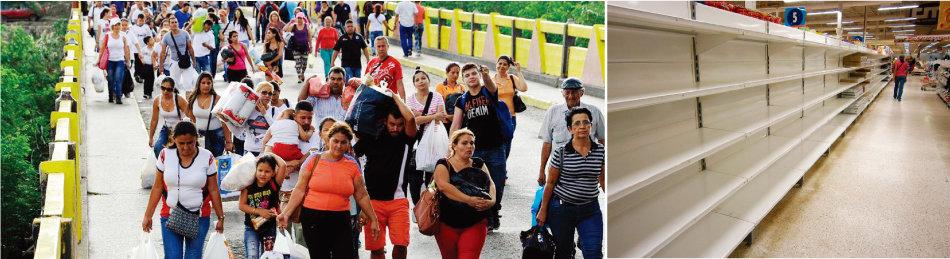 베네수엘라 국민들이 생활고 때문에 콜롬비아로 넘어가고 있다(왼쪽). 베네수엘라 수도 카라카스에 위치한 한 슈퍼마켓 진열대가 텅 비어 있다. [El Espectador, 동아DB]