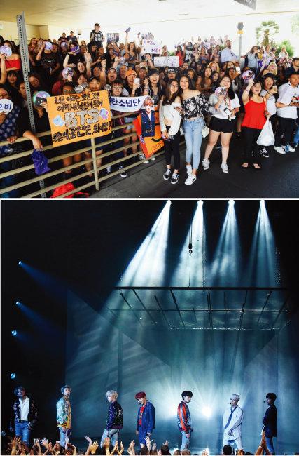 2017년 11월 미국 로스앤젤레스(LA)에서 공연 중인 방탄소년단(BTS)과 5월 미국 라스베이거스 MGM 그랜드 가든 아레나에서 열린 빌보드 뮤직 어워드 레드카펫 행사에 몰려든 BTS 해외팬들. [뉴스1, 뉴시스]