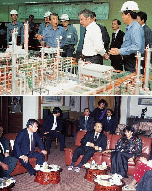 1991년 울산 콤플렉스(CLX)  준공식에 참석한 최종현 전 SK 회장.(위) 최 회장이 1981년 내한한 야마니 사우디아라비아 석유장관(오른쪽에서 두 번째)과 담소를 나누는 모습. [사진 제공·SK]